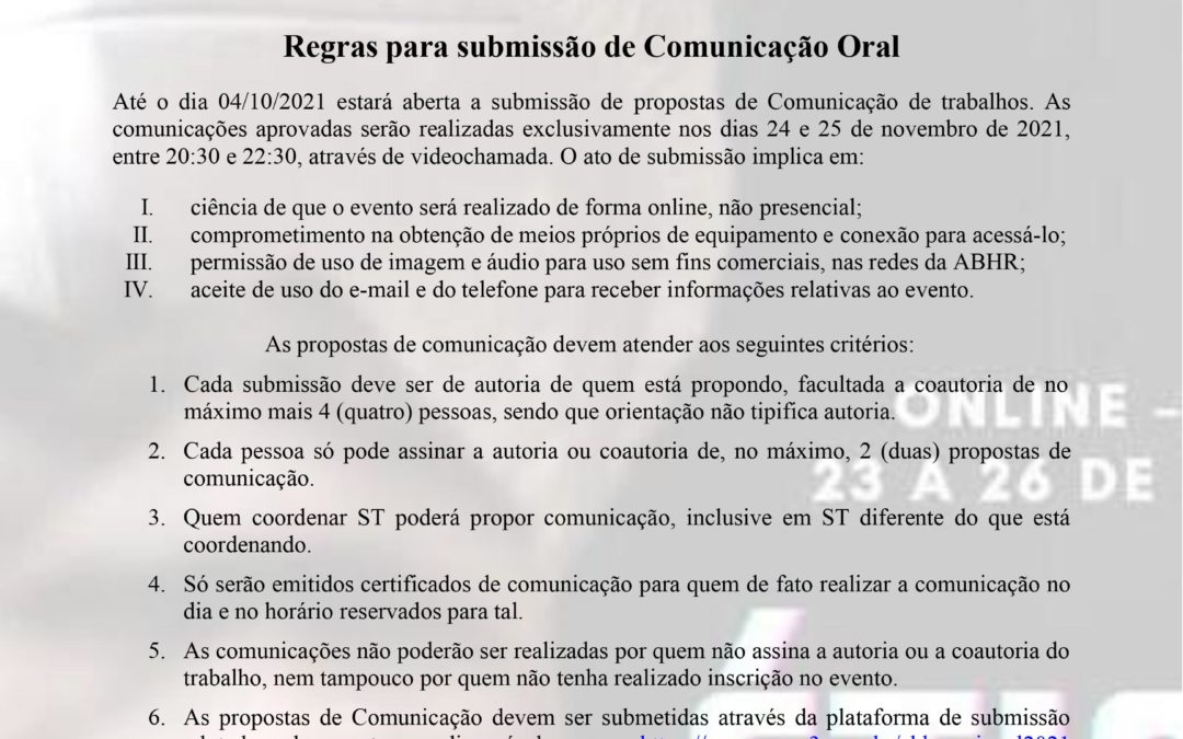 Inscrição em Comunicação Oral do XVII Simpósio da Associação Brasileira de História das Religiões